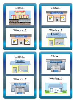 The City I Have/Who has... Card Game- ESL City Vocabulary