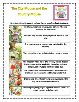 The City Mouse and the Country Mouse Story Sequence