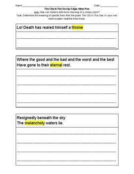 The City in The Sea section 1 worksheet