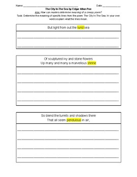 The City in The Sea section 2 worksheet