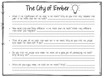 The City of Ember - Book vs. Movie Graphic Organizer