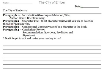 The City of Ember Novel Assignment