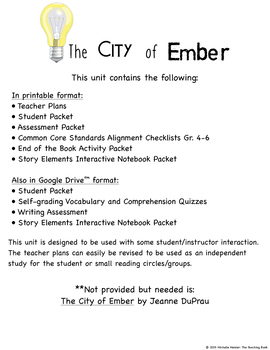 The City of Ember Novel Study Book Unit