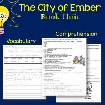 The City of Ember Novel Study: vocabulary, comprehension, writing, skills