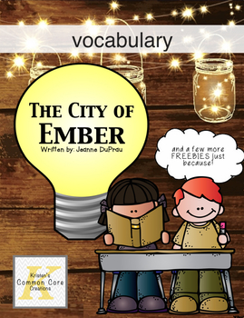 The City of Ember Vocabulary Packet with 10 FREE Novel Study Pages