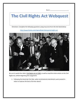 The Civil Rights Act- Webquest and Video Analysis with Key