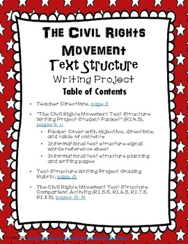 The Civil Rights Movement Informational Text Structure Writing Project