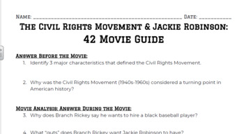 The Civil Rights Movement & Jackie Robinson: 42 Movie Guide