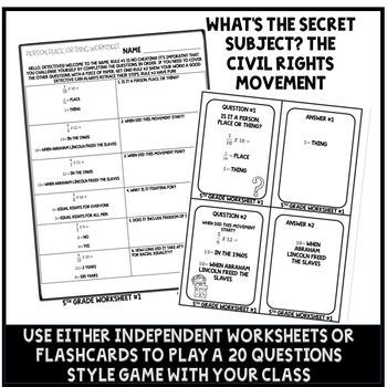 Civil Rights Movement Activity Fraction Multiplication Math Enrichment 5th