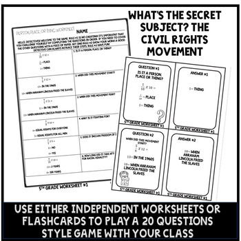 Civil Rights Movement Worksheets 5.NF.4 Muliplying Fractions