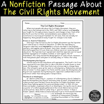 The Civil Rights Movement Reading Comprehension Paired Passages