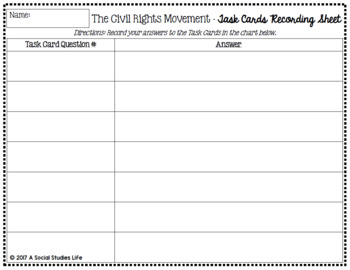 Civil Rights Movement Task Cards and Recording Sheet