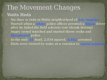 The Civil Rights Movement The Movement Changes PowerPoint Lecture