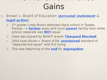 The Civil Rights Movement The Movement Makes Gains PowerPoint Lecture