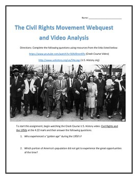 The Civil Rights Movement- Webquest and Video Analysis with Key