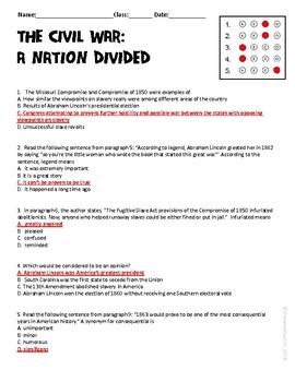 The Civil War A Nation Divided Ela Informational Text Test Prep Passage