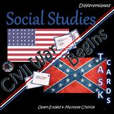 The Civil War Begins~Task Cards~Social Studies~Worksheets/