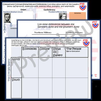 The Civil War Begins~Task Cards~Social Studies~Worksheets/Charts~Studies Weekly