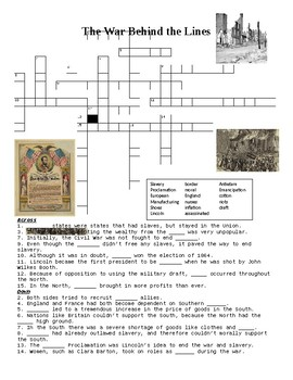 The Civil War Behind the Lines Crossword Puzzle or Web Quest