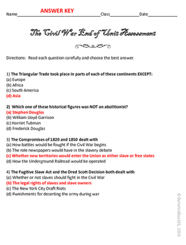 The Civil War End of Unit Assessment