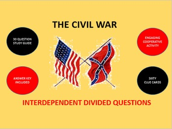 The Civil War: Interdependent Divided Questions Activity