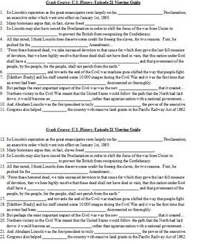 Viewing Guide- Crash Course US History #20 & 21: Civil War pt. 1 & 2