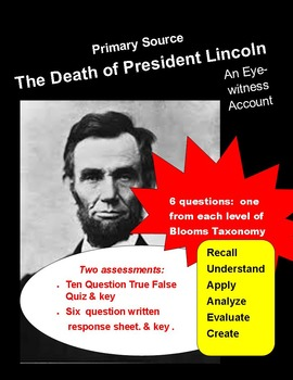 Civil War Primary Source:  Lincoln's Death  (with questions & key)