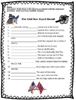 The Civil War Rapid Recall Review