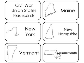 photograph about 50 States Flash Cards Printable named The Civil War Union Says Printable Flashcards. US Background and Geography