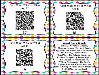 The Civil War Who or What Am I QR Code Cards (GMAS: SS4H5)