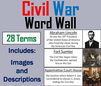 The Civil War Word Wall Cards