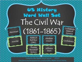 The Civil War Word Wall Set (1861-1865)