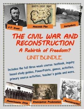 The Civil War and Reconstruction unit bundle, including text
