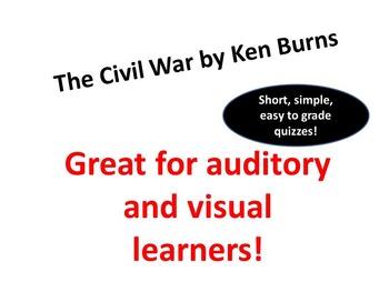 Ken Burns Civil War:  entire series viewing quiz questions & key