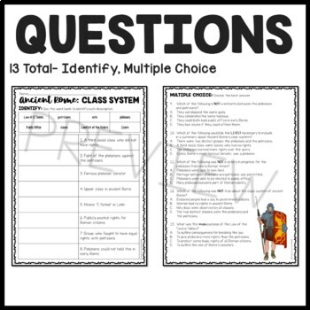 The Class System in Ancient Rome Reading Comprehension Worksheet