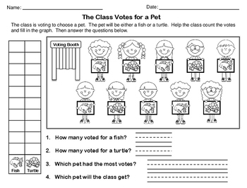 Class Votes - Graphing Worksheets (Set of 6)