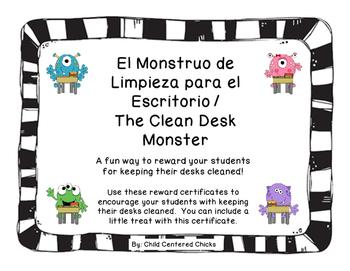 The Clean Desk Monster - Spanish - Black and White Frames