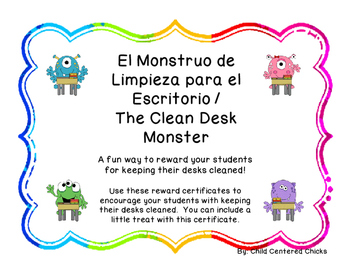 The Clean Desk Monster - Spanish - Colorful Frames
