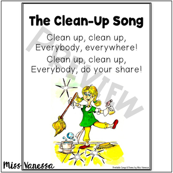 The Clean Up Song ~ Printable Poem in Color and B&W