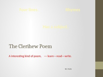 The Clerihew Poem
