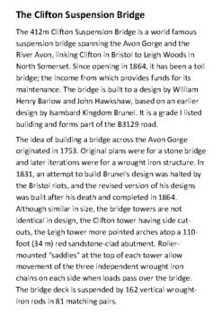 The Clifton Suspension Bridge Handout