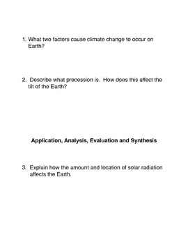The Climate Change and Precession Connection Common Core Activities