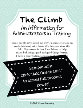 An Affirmation for Administrators in Training  (Professional Development)