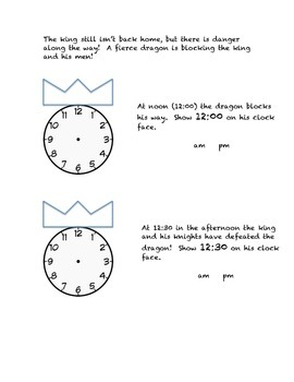 The Clock King Part One (a Worksheet for Telling Time)