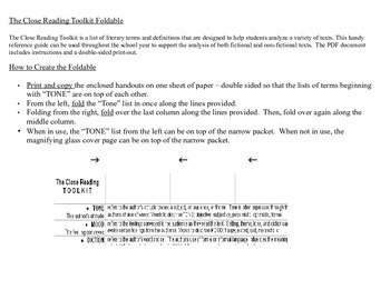 The Close Reading Toolkit Foldable