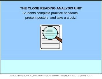 The Close Reading Analysis Unit