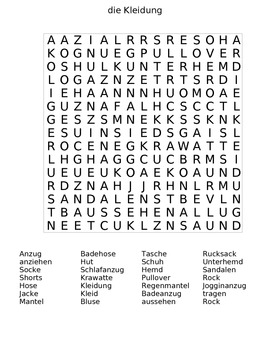The Clothing (die Kleidung) German Word Search Puzzle with Answer Sheet