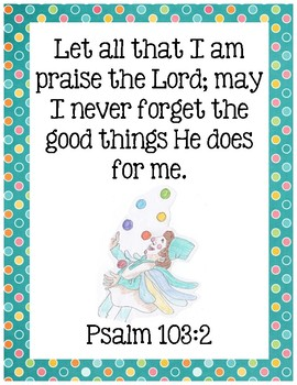 The Clown of God Bible Verse Printable (Psalm 103:2)