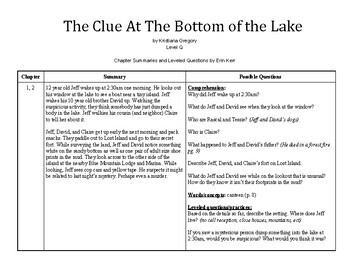 The Clue At The Bottom of the Lake- Guided Reading Chapter Summaries & Questions