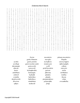 The Cnidarians Vocabulary Word Search for Invertebrate Biology